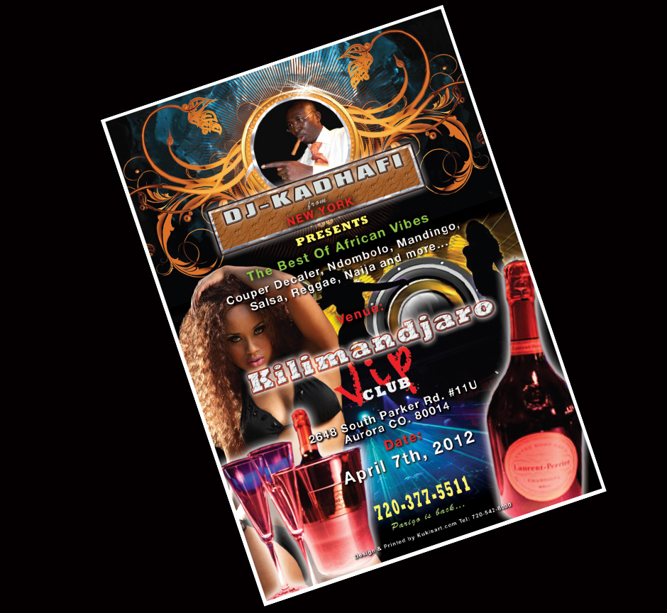 Design & Printing of an event flyer for a new club opening.