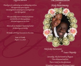 Print and design of a wedding program of the event.