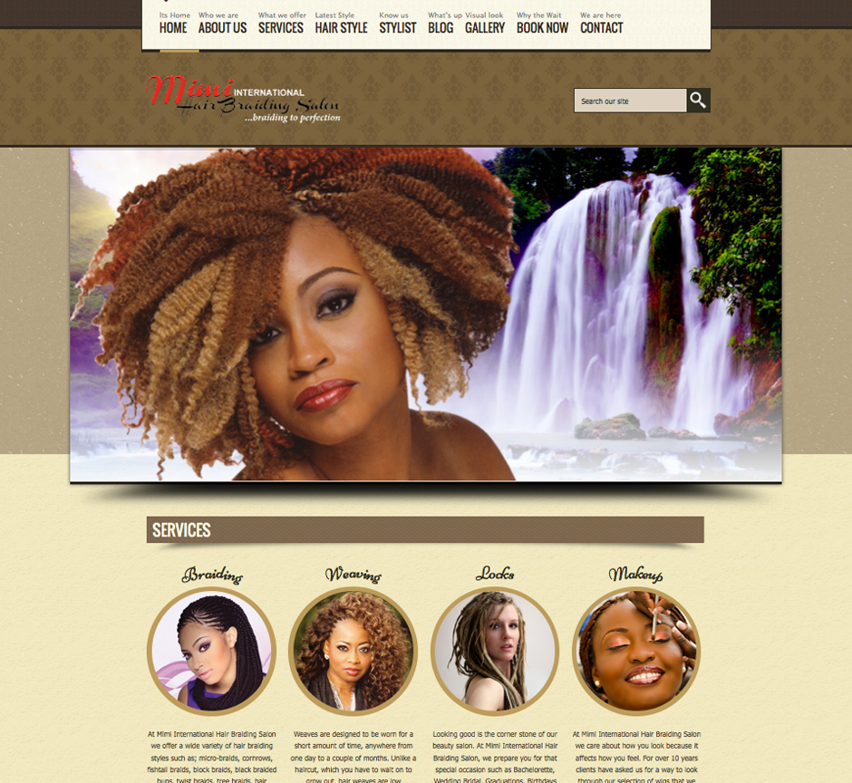 Website designed for Mimi International Hair Braiding Salon.
